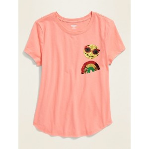 Flippy-Sequin Graphic Softest Tee for Girls