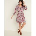 Waist-Defined Floral V-Neck Dress for Women