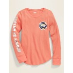 Thermal-Knit Long-Sleeve Tee for Girls