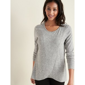 Maternity Plush-Knit Cross-Front Nursing Top
