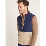 Color-Blocked Nylon-Yoke Sherpa Zip Vest for Men