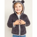 Faux-Fur Critter Zip Hoodie for Toddler Girls