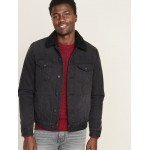 Sherpa-Lined Black Jean Jacket for Men