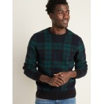 Textured Tartan Crew-Neck Sweater for Men