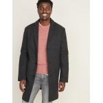 Soft-Brushed Plaid Topcoat for Men