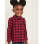 Plaid Flannel Pocket Shirt for Toddler Girls