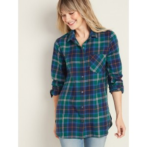 Patterned Flannel Tunic Shirt for Women
