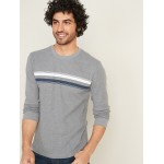 Chest-Stripe Thermal-Knit Tee for Men