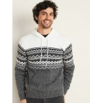 Fair Isle Pullover Sweater Hoodie for Men