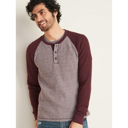 올드네이비 Chunky Thermal-Knit Built-In Flex Raglan-Sleeve Henley for Men