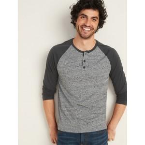 Soft-Washed Raglan-Sleeve Henley for Men