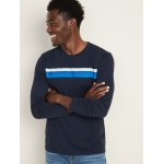 Soft-Washed Chest-Stripe Long-Sleeve Tee for Men