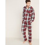 Patterned Flannel Pajama Set for Men