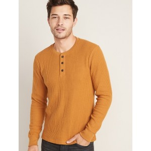 Chunky Thermal-Knit Built-In Flex Henley for Men