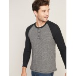 Chunky Thermal-Knit Built-In Flex Raglan-Sleeve Henley for Men