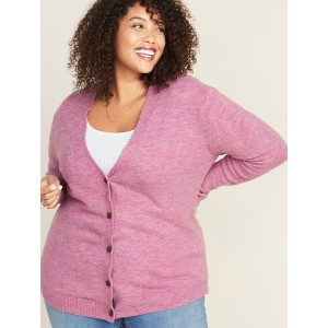 Button-Front Plus-Size V-Neck Cardi