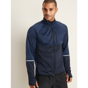 Go-Warm Mock-Neck Color-Blocked Zip Run Jacket for Men