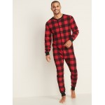 Thermal-Knit Union Suit One-Piece Pajamas for Men