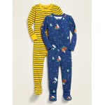 Printed Footie Pajama One-Piece 2-Pack for Toddler Boys & Baby