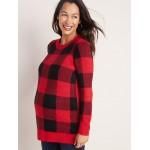 Maternity Soft-Brushed Shaker-Stitch Tunic Sweater