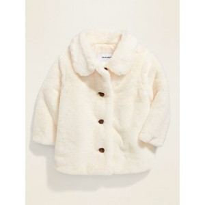 Faux-Fur Button-Front Coat for Baby