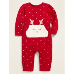 French Terry Reindeer-Pocket One-Piece for Baby