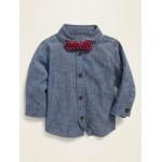 Chambray Shirt & Polka-Dot Bow-Tie Set for Baby