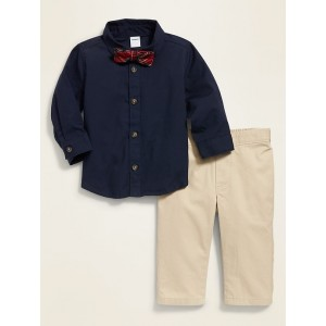 Long-Sleeve Shirt, Bow-Tie & Twill Pants Set for Baby