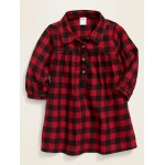 Buffalo-Check Twill Flannel Dress for Baby