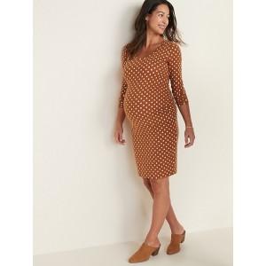 Maternity Printed Scoop-Neck Bodycon Dress