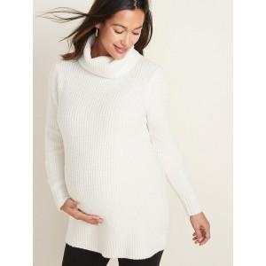 Maternity Shaker-Stitch Turtleneck Tunic Sweater