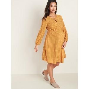Maternity Waist-Defined Keyhole Dress