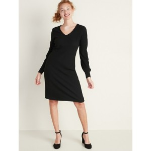 Rib-Knit Lantern-Sleeve Midi Dress for Women