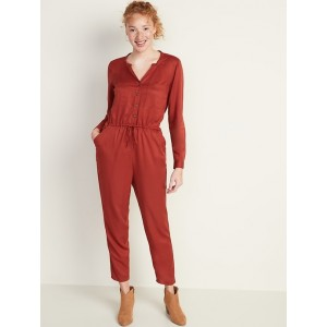 Waist-Defined Utility Jumpsuit for Women