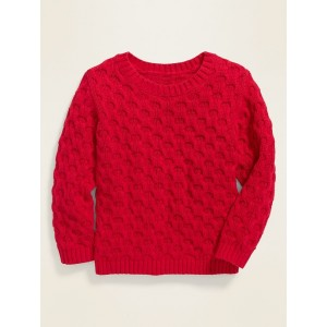 Textured Crew-Neck Sweater for Toddler Girls