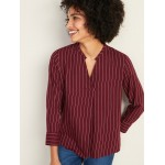 Relaxed Split-Neck Striped Top for Women