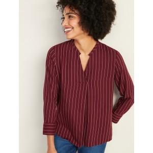 Relaxed Split-Neck Striped Top for Women