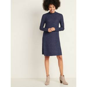 Brushed-Knit Mock-Neck Swing Dress for Women