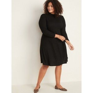 Rib-Knit Plus-Size Mock-Neck Swing Dress