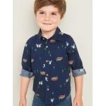 Printed Built-In Flex Shirt for Toddler Boys