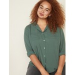Relaxed Plus-Size Utility Shirt