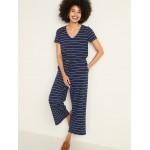 Boucle-Knit Waist-Defined Striped Jumpsuit for Women
