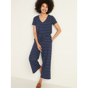 Boucle-Knit Waist-Defined Striped Jumpsuit for Women