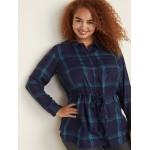 Printed Plus-Size Pullover Drawstring Shirt