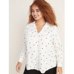Relaxed Plus-Size Polka-Dot Utility Shirt