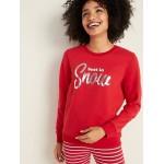 Holiday-Graphic Vintage Crew-Neck Sweatshirt for Women
