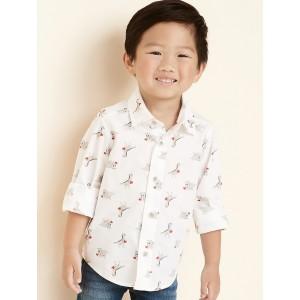 Valentine's Day Dinosaur Print Built-in Flex Shirt for Toddler Boys