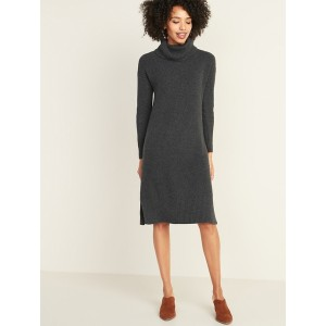 Shaker-Stitch Turtleneck Sweater Dress for Women