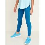 Mid-Rise Go-Dry Elevate Velour-Stripe Leggings for Girls
