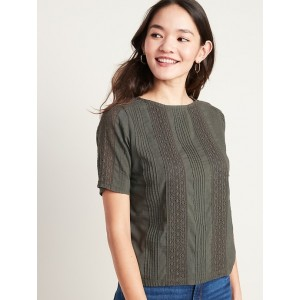 Lace-Trim Pleated Top for Women